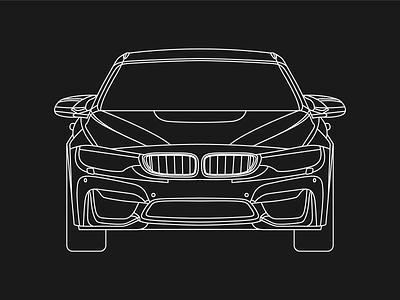 BMW M4 monoline vehicle car illustration automotive