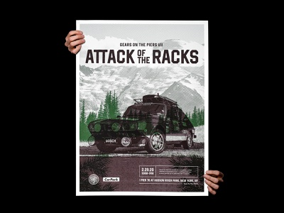 Gears on the Piers VII: Attack of the Racks screenprint rack bosch halftone poster print vehicle car illustration automotive