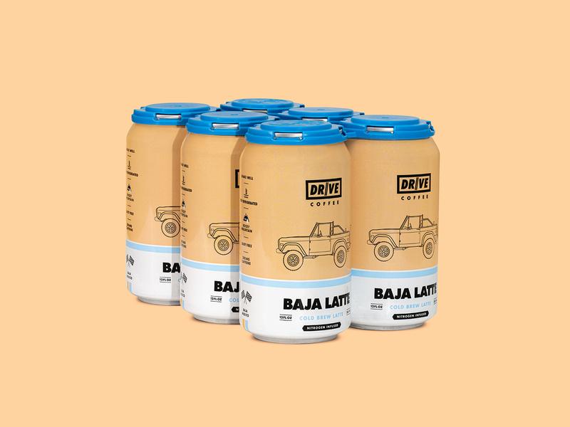 Drive Coffee Baja Latte 6-Pack 6-pack bronco label racing latte cold brew coffee package design print branding vehicle car illustration automotive