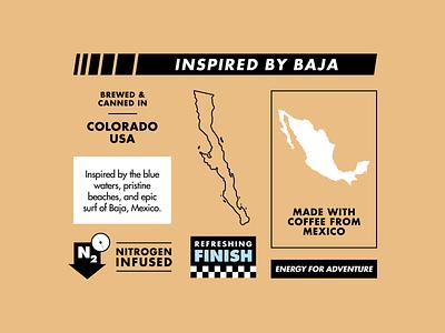 Drive Coffee Baja Latte Details can label nitro mexico bronco baja cold brew coffee package design print branding vehicle car illustration automotive