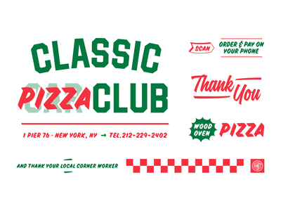 Classic Pizza Club Type branding identity checkerboard new york nyc thank you pizza car typography automotive