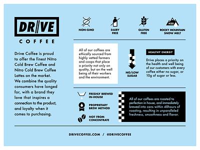 Drive Coffee Product Sheet brew gluten free dairy free gmo icons drive product coffee print illustration car automotive
