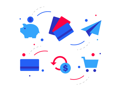 Virtual Incentives Illustrations rewards cart gift card payment credit card piggy bank purchase shopping incentive branding illustration