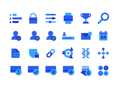 Virtual Incentives Icons payment email currency credit card dna link security file calendar password magnifying glass lock trophy iconography icon set icon branding illustration