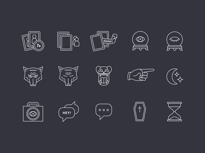 Stellar Factory Werewolf Icons mono line monoline fingers hand pointer speech bubble occult hour glass coffin moon crystal ball eye card werewolf game icon set icons icon illustration