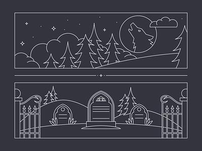 Stellar Factory Werewolf Illustration gravestone graveyard cemetery howl moon night werewolf mono line monoline illustration