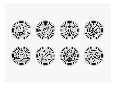Stellar Factory Game Icons strawberry dagger pizza atom werewolf rocket compass game mono line monoline icon set icons icon illustration