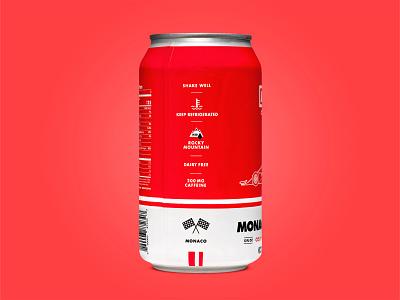 Drive Coffee Monaco Mocha packaging label can drive mocha cold brew coffee vehicle car branding illustration automotive