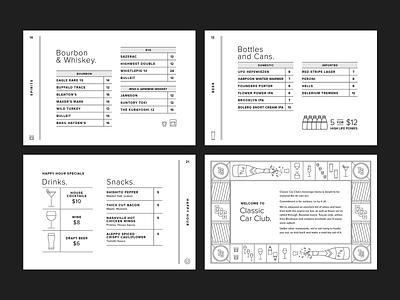Classic Car Club Menu Book layout beer cocktails icon illustration book menu print branding automotive