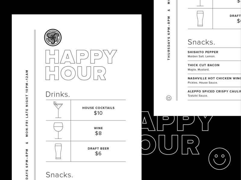 Classic Car Club Happy Hour Menu