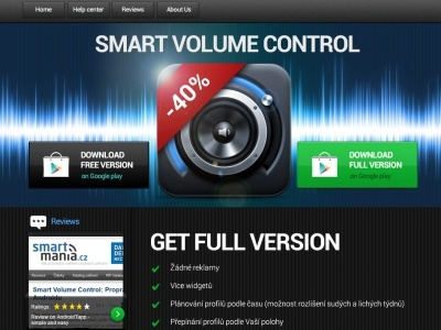 Smart Volume Control - product page graphic design product web icon button landing android promo layout ui website