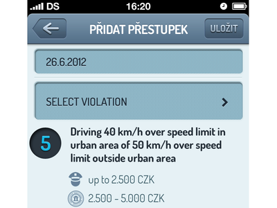 Add new offense - Czech Point System - UI/UX design illustration app ios iphone ui ux drivers blue traffic fine offense
