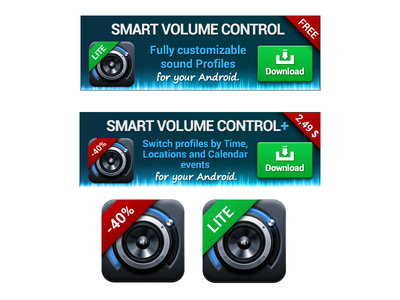 Banners - Smart Volume Control sale button red green blue illustration admob banner android app graphic design