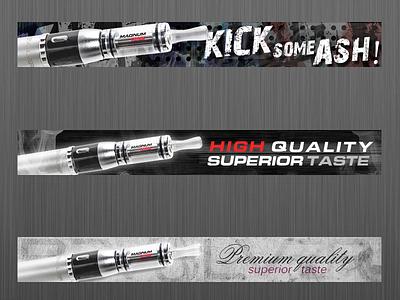 Electronic cigarette - banners quality banner electronic cigarette e-cigarette design graphic illustration gray black smoke taste
