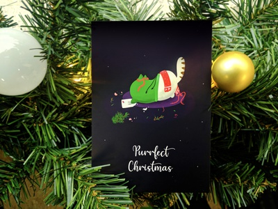 Purrfect Christmas illustration design hike one card cat christmas card postcard xmas visual design holidays2019 christmas art