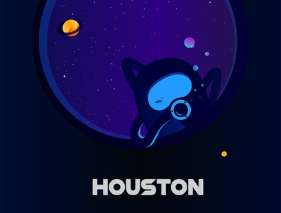 Houston art spaceman astronout moon stars hike one illustration design vector art illustration space