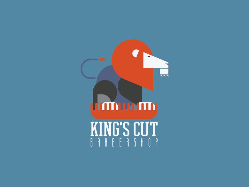 King's Cut flat barber logo barbershop lion logo vector design icon logodesign monogram logo branding