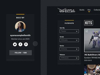 Gunpla Gallery: Sidebar Button Interaction after effects animation hover side dark ui dark interface dark portfolio gunpla gundam