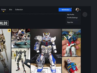 Gunpla Gallery: Navigation Hover gunpla gundam dark ui dark dark theme animation motion ui web design after effects