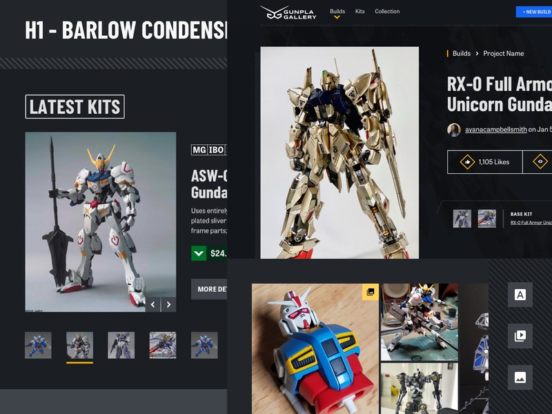 Gunpla Gallery: Style Exploration build blue yellow gray gunpla gundam ui design ui dark mode dark ui dark interface
