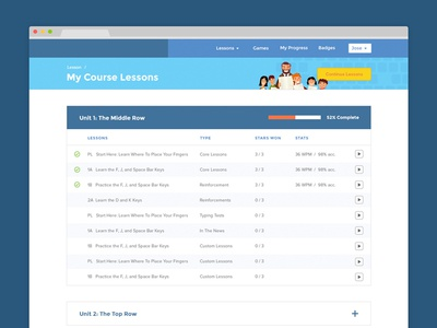 Course Listing elearning education table ui web design kids list lesson school