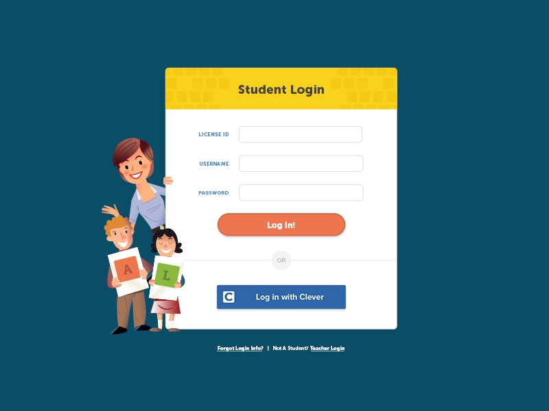 Student Login ui web design learning typing elementary student elearning education form login