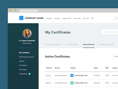 Dashboard interface security ssl web design ui tabs table profile sidebar dashboard