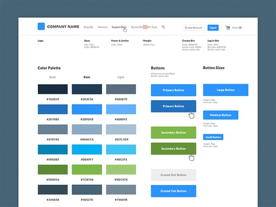 Style Guide style ui buttons navigation web design grid color ui kit style guide