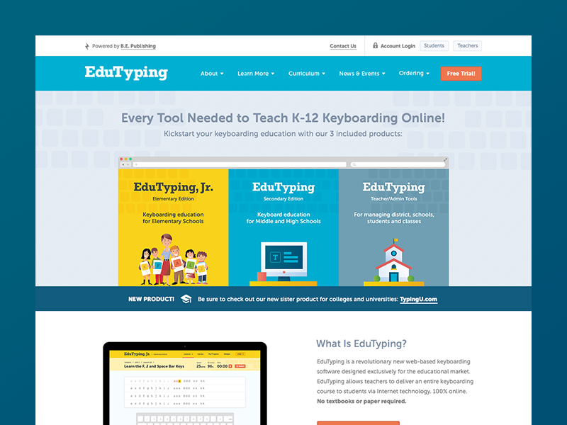 Launched: EduTyping illustration elementary web design keyboard typing elearning education