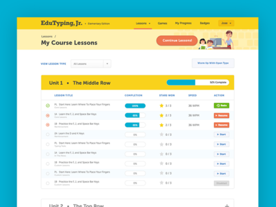 EduTyping Jr. Course Listing