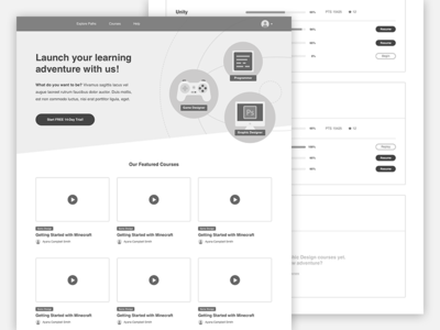 Wireframes library video elearning icon website plan black and white grayscale wireframes