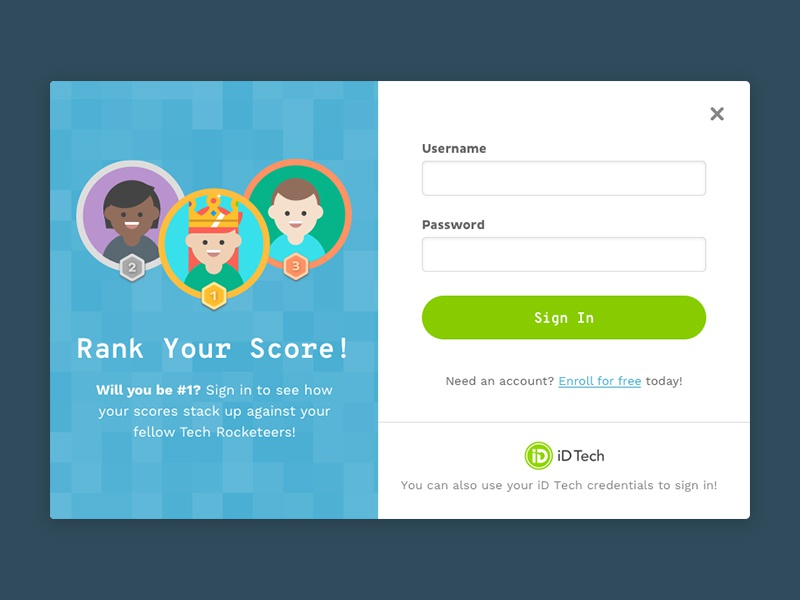 Sign In Modal medal characters students crown rank reward gamification illustration form sign in modal