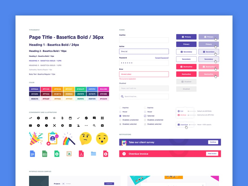 Client Dashboard Style Guide design system typography notification emoji system buttons colors styles style guide