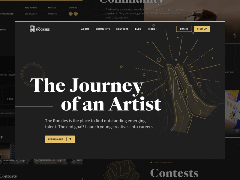 The Rookies Home illustration web design community contest quase high five hand gold dark black