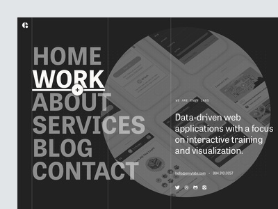 More Site Explorations portfolio website icons social menu navigation big type type bold dark web design