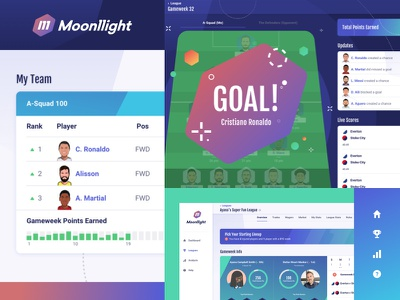 Moonllight Styles soccer football fantasy sports fantasy app ui style interface gradient color vibrant team logo icon icon design