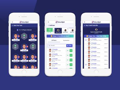 Moonllight Mobile ui interface mobile ui fantasy soccer fantasy football soccer responsive design responsive app mobile