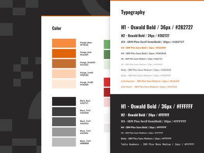 Color and Typography web design interface design ibm plex oswald design system black orange style guide style typography color