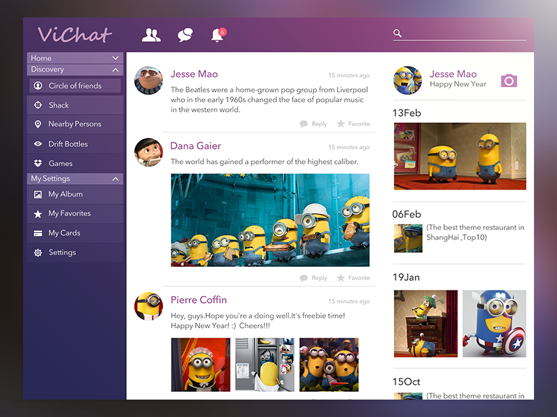 Vichat Concept flat app ios7 chat ipad social