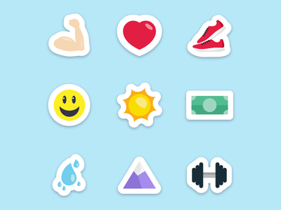 Sticker Set rain mountain emoji smiley money dollar running shoes heart dumbell bicep stickers