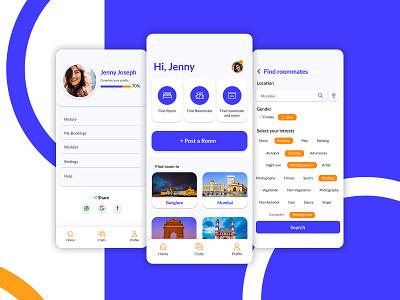 Roomie Circle - Roommate Finder Mobile App vector kerala angamaly india app design ux app illustration ui branding