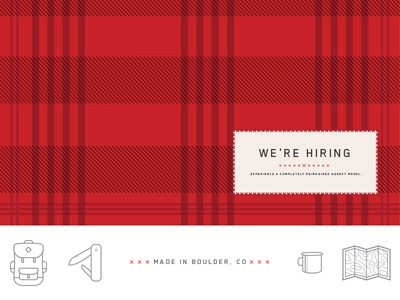 We're Hiring imm flannel plaid icons wilderness boulder colorado