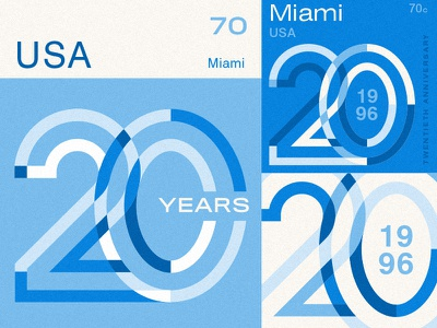 Miami Stamps funzies anniversary 20 blue miami stamps