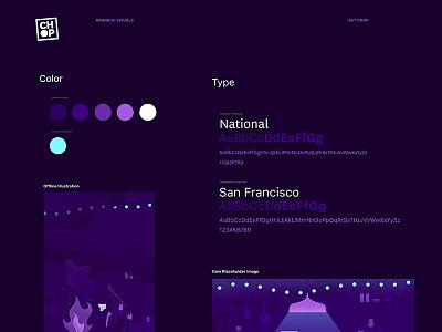 Chop Overview mobile ordering illustration brand purple design app ios chop