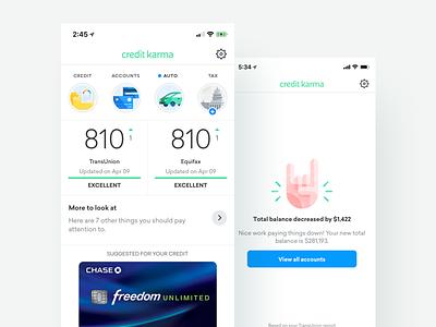 Native Dashboard credit karma financial app finances credit score credit illustrations product ui dashboard