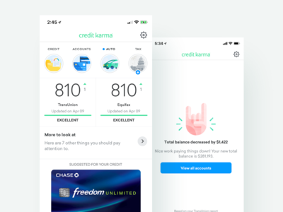 Native Dashboard credit karma financial app finances credit score credit illustrations product ui dashboard