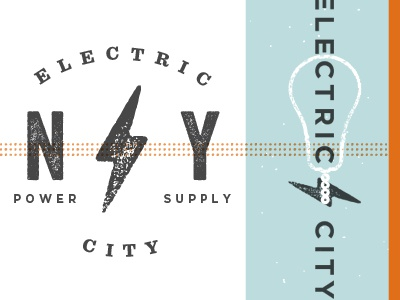 Electric City electric city ny light bulb texture vector logo identity orange blue gray power supply