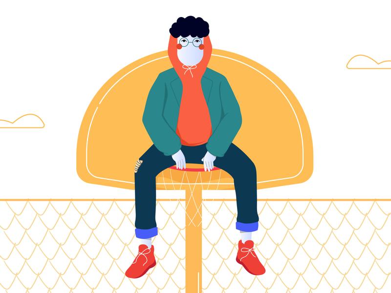 Shots and Stuck vector design flatdesign flat illustration illustration digital illustrations ring basket basketball graphic design illustration design illustration art illustration