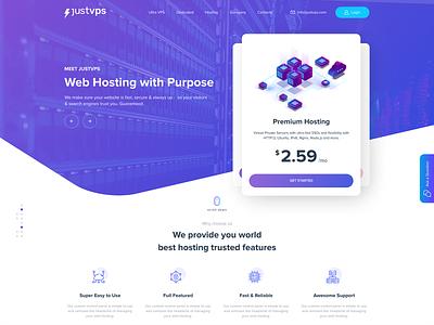 Justvps website web design ux unique design ui logo ecommerce dribbble design creative design