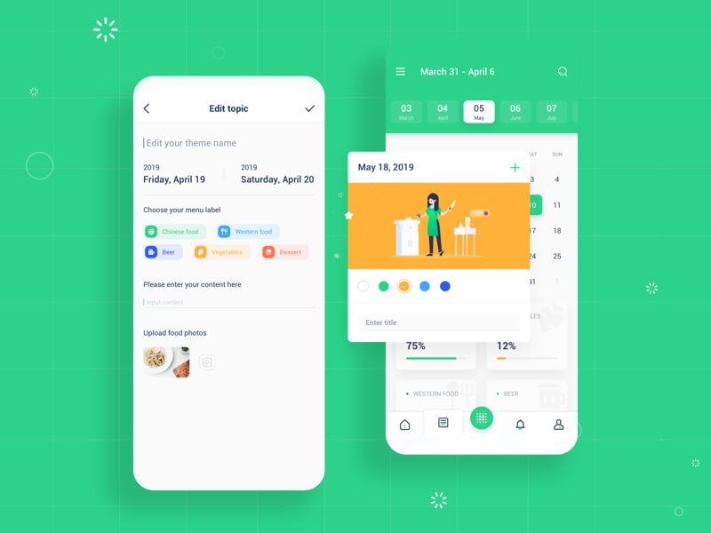 Food Plan 2 iphonex app design food plan ios app design ui interface colorful flat design ui design illustration